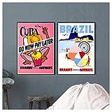 hutianyu Vintage Airways Anzeigen Poster Brasilien Braniff