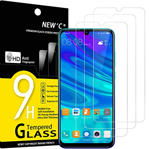 NEW'C 3 Unidades, Protector de Pantalla para Huawei P Smart 2019, Honor 10 Lite, Honor 8A, Antiarañazos, Antihuellas, Sin Burbujas, Dureza 9H, 0.33 mm Ultra Transparente, Vidrio Templado Resistente