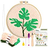 Pllieay Punch Needle Embroidery Starter Kits Include Instructions, Punch Needle Fabric with Pattern, Yarns, Embroidery Hoops for Rug-Punch & Pinch Needle(Monstera)