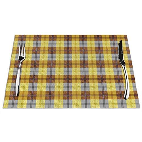 Feamo Tischsets, kariert, Butterscotch und Rootbier, waschbar, rutschfest, wärmeisolierend, gewebtes Vinyl, 4 Stück