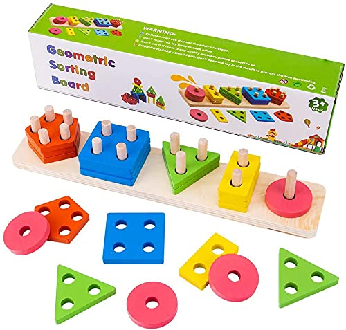 Wooden Sorting Stacking Toy, Sha...