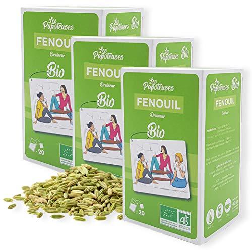LES PAPOTEUSES | Tisanes fenouil BIO | Draineur | 60 sachets | Coffret infusion de 3 boîtes de 20 infusettes | Certifié biologique