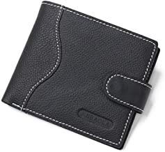 Groups Mens Soft Genuine Leather 3 Fold Wallet With Coin Pocket and Photo Window (Color : Black, Size : Free size)
