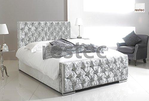ComfyCraft Florida Upholstered silver crush velvet bed frame in different (5FT BED FRAME)