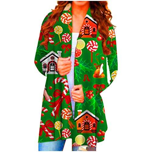 Janly Clearance Sale - Abrigo para mujer, informal, manga larga, para mujer, diseño de Navidad, color verde