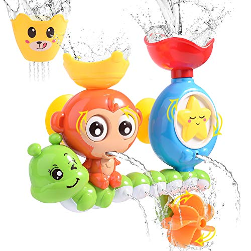 HellDoler Badespielzeug,Badewannenspielzeug Wasserfall Wasserstation mit Einer stapelbaren Tasse Springbrunnen Wasserdusche Spielzeug für Kinder