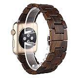 Sakula Apple Watch バンド 木製 黒檀木 交換ベルト アップルウォッチ ベルト Apple Watch Series 5 Series 4 Series 3 対応 バンド 38mm/40mm(黒檀木)