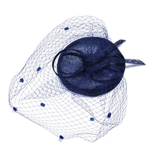 AMURAO Netto Feder Haarnadel Hüte Blume Cocktail Tea Party Headwear Hochzeit Braut Fascinator Hut für Mädchen