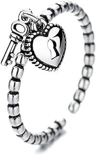 Heart Love Key Lock Bead Balls Open Rings for Women Girls Vintage Adjustable Promise Wedding Statement Engagement Finger K...