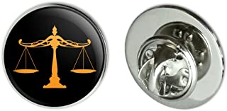 """GRAPHICS & MORE Scales of Justice Legal Lawyer Metal 0.75"""" Lapel Hat Pin Tie Tack Pinback"""