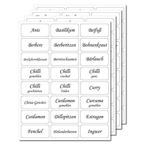 144 Gewürzetiketten 33x15mm - transparent - UV beständig - Hohe Klebekraft (100 bedruckt / 44 blanko)