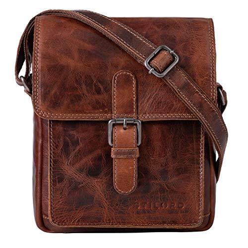 STILORD 'Martinez' Kleine Umhängetasche Herren Leder Vintage Messenger Bag klein für 9,7 Zoll iPad Tablethülle Männer Handtasche Echtleder, Farbe:Milano - braun