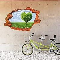 ウォールステッカー、風景偽窓ラブツリーpvc壁飾りソファリビングルームの装飾三次元アートステッカー