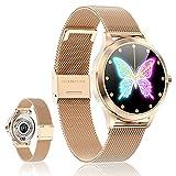 Smartwatch Reloj Inteligente - SmartWatch Mujer Impermeable con Monitor de Sueño Pulsómetros Cronómetros Contador de Caloría, Pulsera de Actividad Inteligente con iOS y Android (2021, Oro Rosado)