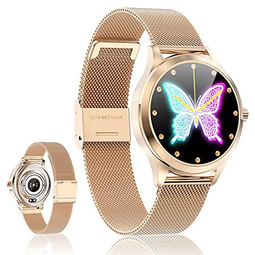 Smartwatch Reloj Inteligente - Smart Watch Mujer Impermeable con Monitor de Sueño Pulsómetros Cronómetros Contador de Caloría, Pulsera de Actividad Inteligente con iOS y Android (Oro Rosado)