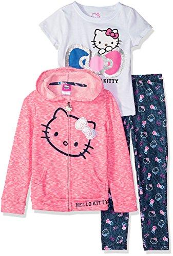 Hello Kitty Big Girls 3 Piece Zip Up Hoodie Legging Set with T-Shirt, Pink, 7