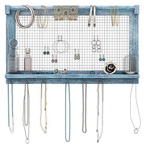 Comfify Organizador de Joyas rústicas - Montado en Pared Organizador de Joyas con extraíble Pulsera Rod y 16 Ganchos Pendientes, Collar y Porta Pulseras - Azul rústico