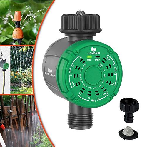 Landrip Timer per irrigazione Automatico, Timer per Rubinetto da Giardino a Uscita Singola, Regolatore Automatico del Sistema di irrigazione Timer Digitale per irrigazione Funzionamento One-Touch