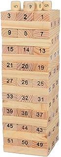 54Pcs Wooden Tower Hardwood Building Blocks Toy Domino Jenga Game Toys