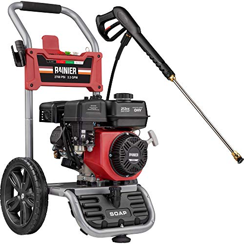 Rainier RPX2700 Gas Powered Pressure Washer 2700 PSI and 2.3 GPM, Soap Tank and Four Nozzle Set, CARB Compliant
