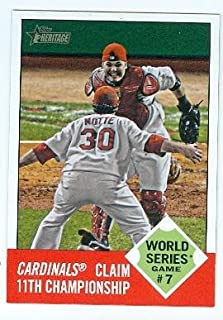St Louis Cardinals Win 2011 World Series trading card Game 7 2012 Heritage #148 Jason Motte Yadier Molina