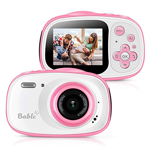 """Bable Kids Camera Gifts for Girls, 8.0MP Waterproof Camera for Kids, 6 X Zoom Kids Digital Camera with 2.0"""" IPS Screen, Underwater Video Camera Camcorder Best Gift for Kids Included 16GB Micro SD Card"""