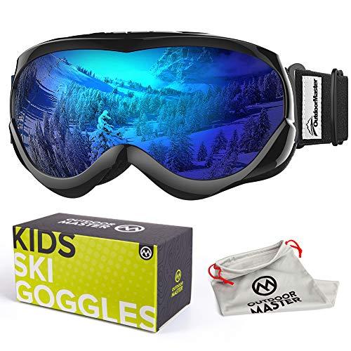 OutdoorMaster Skibrille Kinder, Snowboardbrille mit Rahmen, 100% OTG UV-Schutz Anti- Nebel Ski Goggles für Skifahren, Skaten, Snowboarden (Schwarz + Blau (VLT 15%))