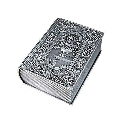 Metal de la joyería Europea Creativo Retro del Libro Exquisita Caja Clásicos Inicio de Escritorio Joyero Caja de Almacenamiento de Joyas de baratijas Peque (Color : Silver, Size : 12.5X9.5X4.7CM)