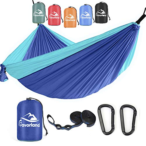 Favorland Camping Hammock Double & Single with Tree Straps for Hiking, Backpacking, Travel,Yard - 1 Persons Outdoor Indoor Lightweight & Portable with Straps & Steel Carabiners Nylons(Blue)