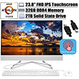 "2020 Flagship HP 24 All in One Desktop Computer 23.8"" FHD IPS Touchscreen Display AMD Athlon Silver 3050U (Beats i5-7200U) 32GB DDR4 2TB SSD DVD Webcam WiFi Keyboard Mouse Win 10 + iCarp HDMI Cable"