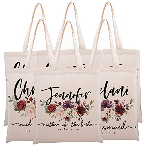 Personalized Tote Bag for Events Bachelorette Party Baby Shower Bridal Shower Bridesmaid Christmas Gift Bag | Customize Maid and Matron of Honor Gifts | Watercolor Floral | C1D06-Set of 6
