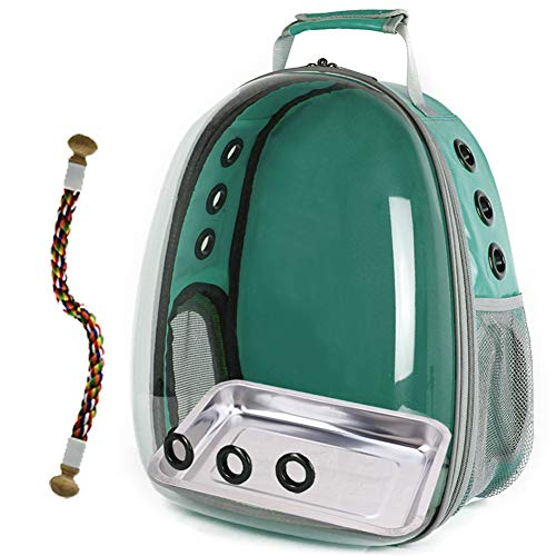 Bird Carrier Cage, Bird Travel Backpack with Stainless Steel Tray and Standing Perch (Green)