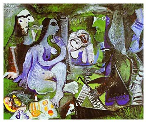 JH Lacrocon Desayuno sobre La Hierba de Pablo Picasso - 120X100 cm Pinturas Abstracto a Mano Reproducción sobre Lienzo Enrollado Decoración Pared para Salón