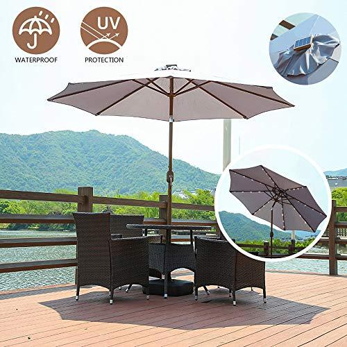 Jardín Paraguas Parasol, 2,7 m de inclinación Sombrillas con luz solar LED, manivela, mecanismo de inclinación ajustable, protección UV, para la piscina al aire libre Balcón, Base no está incluido