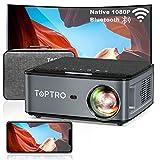 TOPTRO WiFi プロジェクター 1920*1080P 4K対応、Bluetooth5.0 8500LM 300インチ大画面 天井 小型プロジェクター、4D台形補正 50%ズーム ホーム ビジネス プロジェクター、USB/HDMI/AV/3.5mmオーディオ端子対応 スマホ/パソコン/タブレット/ゲーム機/DVDプレーヤーなど接続可能