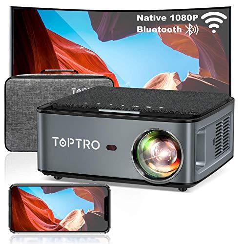 TOPTRO Proiettore WiFi Bluetooth 7500 Lumen con Custodia da Trasporto, Proiettore 1080P Nativo Aggiornato, Supporto 4D Keystone   Zoom   4K, Compatibile con Telefono   TV Stick   PC   USB   PS4   DVD
