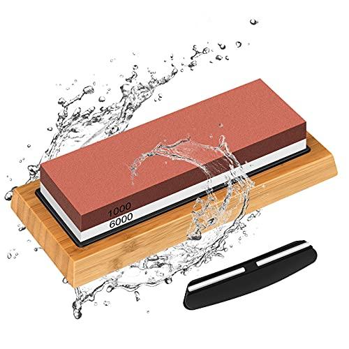 Schleifstein Messer, 2-IN-1 Wetzstein Messerschleifer, Körnung 1000/6000 Knife Sharpener mit Rutschfestem Silikonhalte, Abziehstein für Küche Messer, Geschenk für Koch