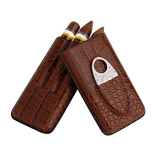 PIPITA Zigarrentasche 2 Tube Zigarren Humidor aus Krokodile Getreide Leder Zigarrenschneider aus Edelstahl inkl.Tragbare Reise-Zigarrentasche Zigarren Etui (Schwarz für 2 Zigarren) (braun)