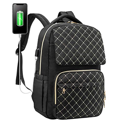 LOVEVOOK Laptop Backpack Womens School Backpack Spacious Laptop Bag Water-Resistant Computer Bags Work Purse Bookbag with USB Charging Port, 15.6 Inch, Black