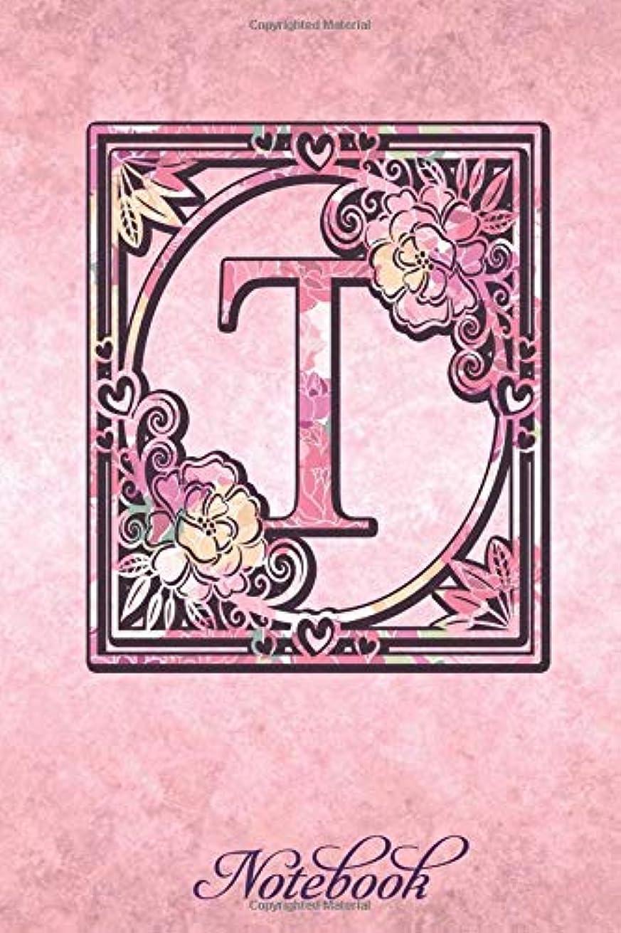 吹雪経済可聴T Notebook: Initial Monogram Notebook - Pretty Pink Floral College Rule Lined Writing and Garden Notes Journal