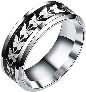 Evangelia.YM Butterfly Pattern Eternity Rings for Women Men Size 6-13 - Xmas Small Gift Fashion Wild Temperament Tail Rings Steel Jewelry (Black C, 9)