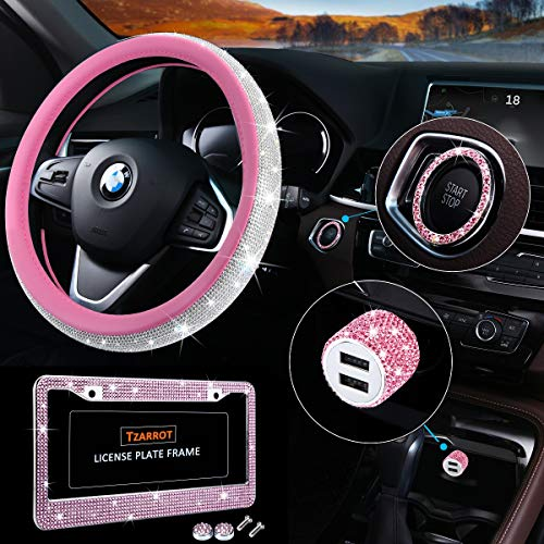 Bling Car Accessories Set, Pink Bling Steering Wheel Cover for Women Universal Fit 15 Inch, Bling License Plate Frame for Women, Bling Car USB Charger(Fast Charging), Crystal Car Decor Set 4pcs (Pink)