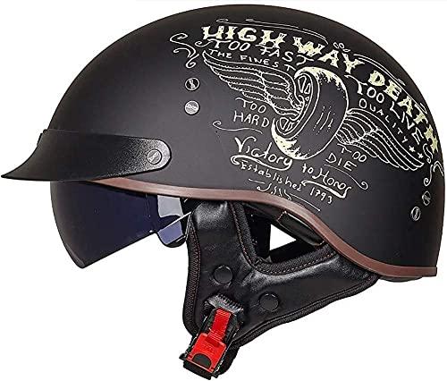 HYRGLIZI Medio Casco de Motocicleta Retro para Hombres y Mujeres, con Visera, Gorra de béisbol, Casco Abierto para Adultos, Bicicleta, Crucero, helicóptero, ciclomotor, Scooter, Casco de Motocicleta
