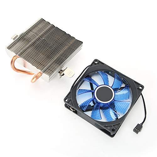 gostcai Ventilador de enfriamiento de CPU de 3 Pines, Ventilador de enfriamiento de computadora con luz, Enfriador de CPU con 2 Tubos de latón para Escritorio, Ventilador de enfriamiento(Azul)