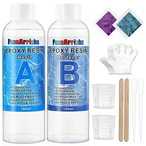 Resina epoxi transparente no tóxica 385g/360 ml, 1: 1 relac
