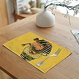 Daesar Set di 4 Tovagliette, Tovaglietta in Cotone e Lino Tovagliette Americane Eleganti Giallo Tovagliette Cucina Lavabili 45x32CM