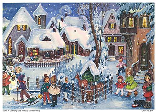 Richard Sellmer Verlag Nostalgischer Adventskalender aus Papier mit Glimmer für Kinder und Erwachsene Es schneit