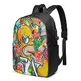 IUBBKI Bolsa para computadora mochila USB Men Women Packable Backpack with USB Charging Port, Durable rain cover SchoolBag, Rucksack Daypack for Outdoor Collegem Business, Homer Cartoon Simp-sons