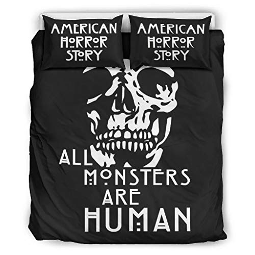 A-Horror-Story all monsters are human Ultra-Soft Bed Set Bedding Easy Care&Wrinkle Free for Bedroom American white 104x90 inch