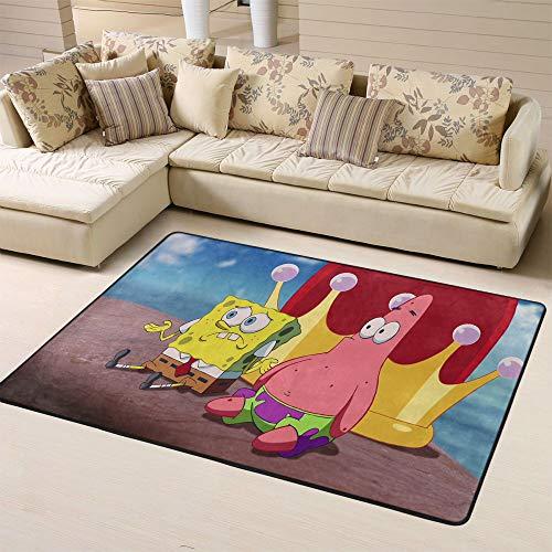 Zmacdk SpongeBob - Alfombra de área grande para patio al aire libre, parte trasera antideslizante para dormitorio de los niños de 6 x 8 pies (180 x 240 cm), diseño de Bob Esponja